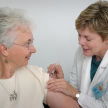 2006 Content Provided by: Judy Schmidt This is a man receiving an intramuscular immunization from a nurse. Vaccinations are most often given via the intramuscular route in the deltoid or thigh muscle, to optimize the immune response of the vaccine and red
