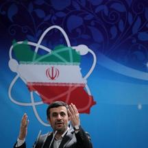 'A picture released by the official website of the Iranian presidency shows President Mahmoud Ahmadinejad delivering a speech to the Iran\'s Atomic Energy Organisation scientists during a ceremony to