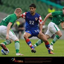 'Croatia\'s Eduardo da Silva (centre) in action with Republic of Ireland\'s Stephen Hunt (right) and Damian Duff during the International Friendly at the Aviva Stadium, Dublin. Photo: Press Associatio
