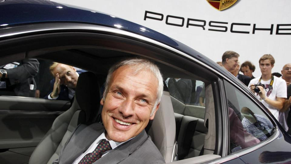 Matthias Mueller, CEO of Porsche presents the new Porsche Carrera 911 S at the International Motor Show (IAA) in Frankfurt, in this September 13, 2011 file photo. Volkswagen's supervisory board will pick the head of sports-car maker Porsche as its next ch