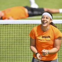 'Marion Bartoli of France trains on a practat the Wiise court mbledon Tennis Championships, in London July 5, 2013.      REUTERS/Toby Melville (BRITAIN  - Tags: SPORT TENNIS)'