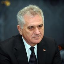 'Serbia's President Tomislav Nikolic listens during a joint press conference with his Hungarian counterpart in the Blue Hall of the presidental palace in Budapest, Hungary on November 13, 2012 . The