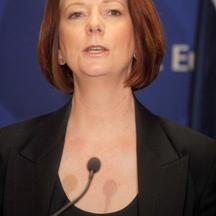 'Julia Gillard MP, Prime Minister of Australia, at a news conference during her visit to the New York Stock Exchange, in New York. Photo: Press Association/Pixsell'