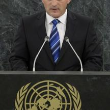 'President of Bosnia and Herzegovina Zeljko Komsic addresses the 68th United Nations General Assembly at UN headquarters in New York, September 24, 2013.  REUTERS/Brendan McDermid (UNITED STATES  - Ta